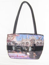 VENETIAN VENEZIA BUCKLE PURSE HANDBAG TOTE BAG SCENE OF ITALY