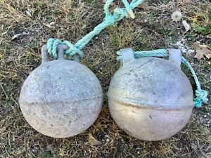 Vtg pair Antique Deep Sea metal zinc float buoy BELL with rope