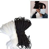 3mm Cordon Élastique Souple Rond Sangle Couture Métier Pour Visage Masque Black