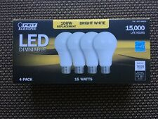 4x FEIT 100 Watt LED Bulb uses 15W • 1600 Lumens • 3000K • E26 Base • A19 Type •