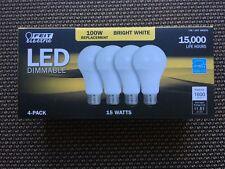 4x FEIT 100 Watt LED Bulb uses 15W • 1600 Lumens • 3000K • E26 Base • A19 Type •