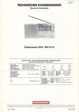 NORDMENDE - Service-Information - Globemaster 2016 984.111 H  B1808
