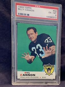 1969 Topps Football #68 BILLY CANNON Oakland Raiders PSA 6  EX-MT