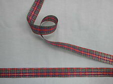 Tartan Ribbon Red/Gold 25mm x 100 mts