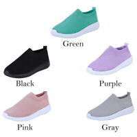 New Womens Summer Mesh Shoes Trainers Flat Slip On Comfy Sneakers Shoes Size BO
