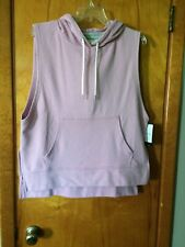 NWT Champion Mauve Sleeveless Hooded Fleece Vest Pullover Jacket L