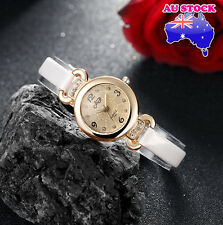 White Leather Crystal Steel White Dial Quartz Watch Women Lady Wrist Watch