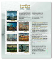 Canada Stamps 2020 GROUP OF SEVEN CANADIAN ART 1920 2020 Pane of 7 Stamps