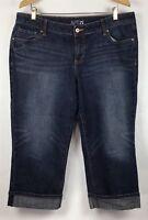 Apt 9 Denim Capri Jeans Womens 39 Waist Stretch Cuffed Plus Size Sandblast B14-1