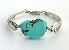 "Together 1956 spoon bracelet silverware turquoise dyed Howlite 7.25"" medium"