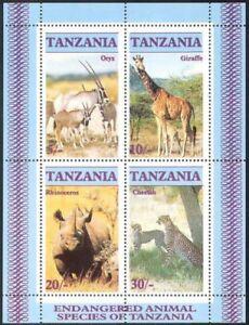 Tanzania 1986 MNH SS, Rhino, Leopard, Giraffe, Oryx, Wild Animals