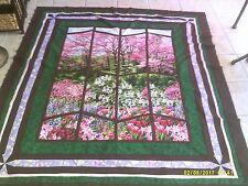"Quilt Top, ""Window View"" Spring is Here, Machine Pieced,  64"" X 75"""