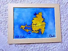 VINTAGE PAINTING WATERCOLOR  CARTOON  MAP SAINT MARTIN MARIGOT BY SYLVIE CHARLOT