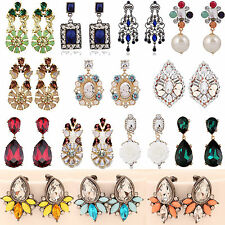 Newly Fashion Women's Floral Crystal Rhinestone Ear Stud Dangle Earrings Jewelry