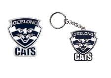 SET OF 2 GEELONG CATS AFL TEAM LOGO METAL PIN BADGE & MASCOT METAL KEY RING