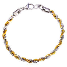 """316L Stamp Stainless Steel 18K Gold Plated Mixed Color 9"""" Rope Chain Bracelet"""