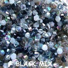 100 x 4mm Crystal Bicone Beads Black  Mix Tiaras  & Jewellery Making
