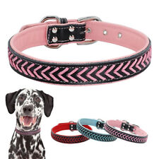Braided PU Leather Pet Dog Collar Soft Padded Adjustable for Small Large Dogs