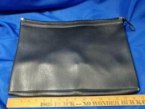 1970s-80s Black Vinyl Faux Gator Document Bag Bank Salesman Travel Luggage