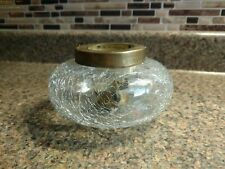 Vintage Crackled Clear Glass votive cande holder with brass insert