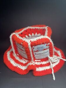 Vintage Advertising Retro Budweiser Beer Can Knitted Knit Hat Crochet Handmade