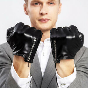 man side zipper whole piece of best Italy leather gloves black