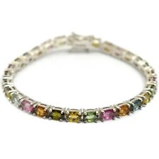 6x4 mm Oval Cut Natural Multi Tourmaline Sterling 925 Silver Tennis Bracelet