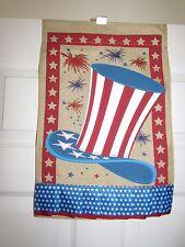 "4th July Patriotic Uncle Sam Hat Burlap Small Garden Flag 12.5"" X 18"""