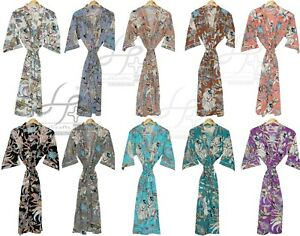 Women's Kimono Plus Size Bohemian Bath Robe Indian Maxi Summer Wear Cotton Gown