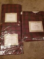 Queen Flannel plaid Dust Ruffle & Two Matching EURO SHAMS red Green Black gold