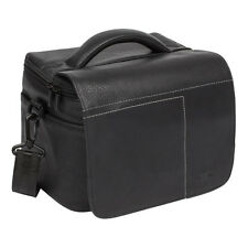 RIVACASE 7613 Polyurethane Leather SLR Case Large, Black