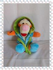 O - Doudou Peluche Tigrou Peignoir Bleu Vert Capuche  Disney Nicotoy 25 cm Neuf