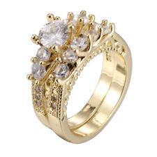 18K Yellow Gold Filled White Topaz Zircon Marriage Rings Set Wedding Party New
