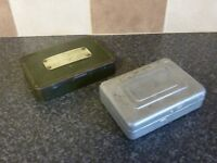 2x VINTAGE FLY/LURE FISHING BOXES 1x MADE IN ITALY WITH SOME FLIES