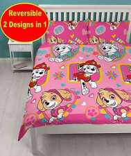 NEW PAW PATROL DOUBLE DUVET QUILT COVER SET KIDS GIRLS CHILDRENS PINK BEDROOM