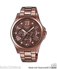 SHE-3806BR-5A Rose Gold Casio Sheen Lady Dress Watches Stainless Steel Band New