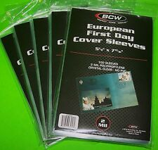 500 EUROPEAN FIRST DAY COVER POLY 2 MIL SLEEVES, CRYSTAL CLEAR - BCW BRAND