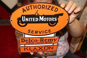 Authorized United Motors Service Delco-Remy Klaxon Gas Oil Porcelain Metal Sign
