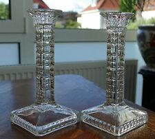 1 Paar prunkvolle viereckige Pressglas  Kerzenleuchter Art Deco um 1930 !!!