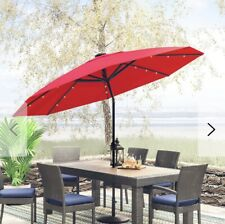 9' FT 8-rib Patio Outdoor Aluminium UmbrellaTilt Red LED Solar light crank lift