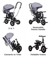 Little Bambino 5 IN 1 Tricycle Stroller Kids Children Baby Toddlers Trike - Grey
