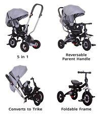 Little Bambino 5 en 1 Triciclo Cochecito Niños Niños Bebé Niños que empiezan a caminar Trike-Gris