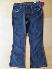Nuovo con Etichette da Donna Kikit Kik It Nero Jeans Pantaloni a Zampa Gamba 12