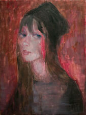 Hope Woman Portrait, Red-Black-Contemporary Original Painting, Pojani-ipalbus