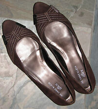 WOMENS SUEDE  BROWN LEATHER DRESS PUMP FLATS ANNE KLEIN BARELY USED