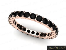 1.15Ct Round Cut Black Diamond Shared Prong Eternity Band Ring 18k Rose Gold AAA