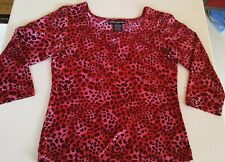 No Boundaries Blouse Size XL Leopard Red Pink Black Sequins 3/4 Sleeves Bust 34""