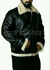 Men's B3 Shearling Flight Bomber Full Fur Removable Hood Cowhide Leather Jacket