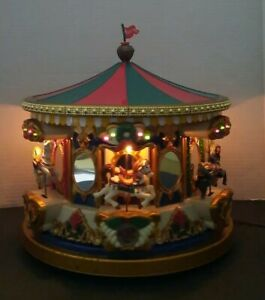 1994 Mr. Christmas Animated Holiday Carousel Merry-Go-Round Music w/Box & Flag