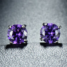 Round Genuine Purple Amethyst 10K Yellow Gold Stud Earrings - Choose Your Size